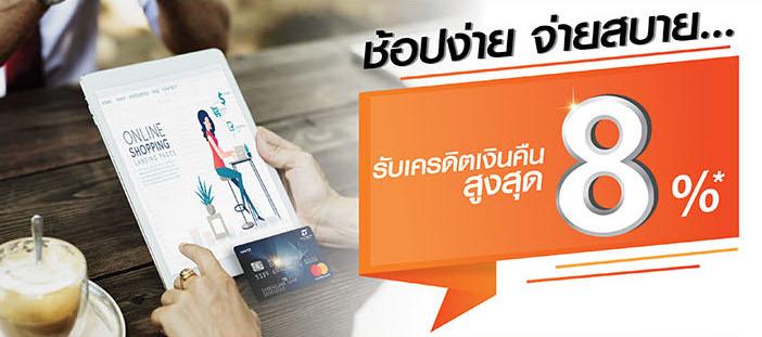 บัตรเครดิตธนชาต ช้อปออนไลน์ คุ้มหนักเว่อร์! รับสิทธิพิเศษ 2 ต่อ เครดิตเงินคืนสูงสุด 8% ในเว็บไซต์ชั้นนำที่ร่วมรายการ 1