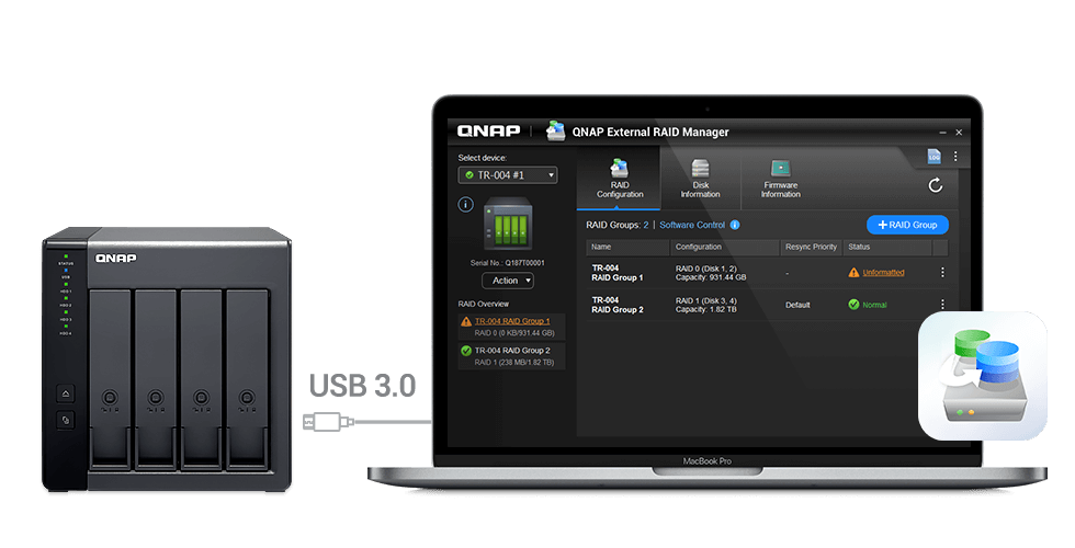 ภาพการใช้งาน QNAP TR-004 โดยเชื่อมต่อกับเครื่อง MacBook Pro