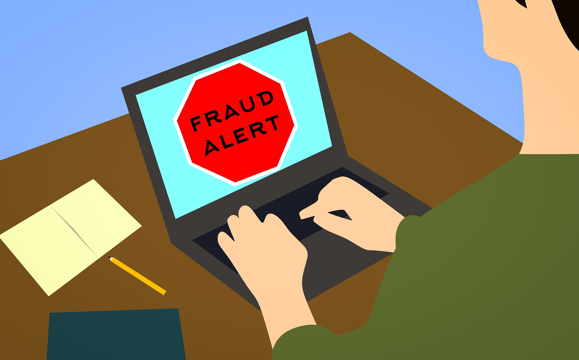 ภาพกราฟิกของคนกำลังใช้โน้ตบุ๊กอยู่ แล้วหน้าจอมีการแจ้งเตือนว่า Fraud Alert (เตือนภัยต้มตุ๋น)