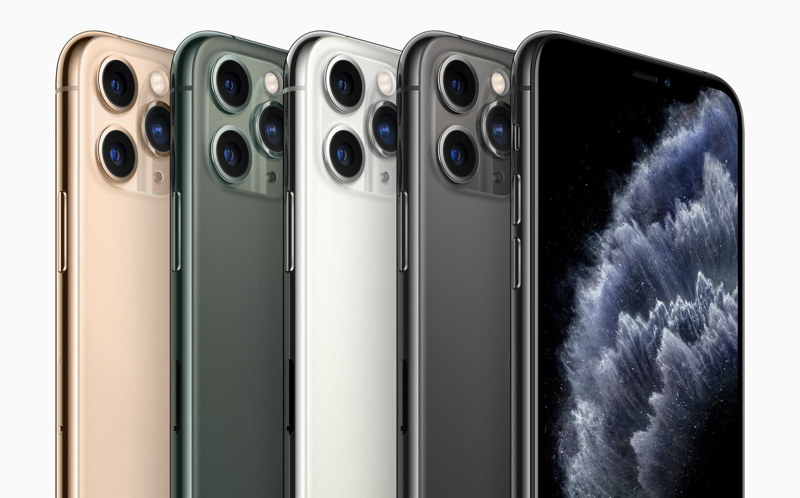 ภาพของ iPhone 11 Pro Max 5 เครื่อง ไล่สีจากซ้ายไปขวา ทอง เขียว ขาว เทา ดำ (สีดำมีสองเครื่อง หันหลังเครื่องนึง หันหน้าเครื่องนึง)